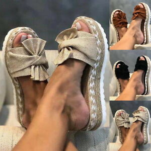 Womens Bow Studded Platform Sandals Casual Slip On Heel Wedge Slippers Summer*️