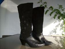 bottes SALAMANDER  cuir et daim veritable noirs ;T 40.(29)