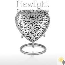 Silver Leaf (3inch Heart), Keepsake Urns, Heart Keepsakes, Mini Urns