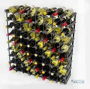 Cranville wine rack storage 72 bottle black stain wood and black metal assembled