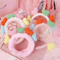 Colorful Plush Headband Cute Love Heart Headwrap Hoop Makeup Hair Band