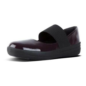 New Fitflop F-Sporty Elastic Mary Jane Flats Patent Leather Size 7.5 Deep Plum