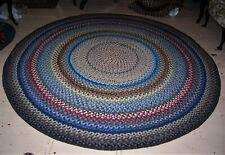 "Vintage Antique Hand Made Circle Wool  Braided Rug 6'10"" Diameter"