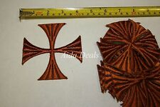 "(12 pcs) Iron Embroidered Religious Patch Brown Color Cross 4""x4"" (Design #0018)"