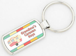 Personalised Pink Caravan Rectangle Metal Keyring Keys Supplied With Gift Box
