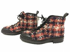 CHANEL Auth Red/Blue Quilted Wool Lace Boots--SZ 38.5--EXCELLENT CONDITION!!!