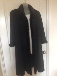 Piacenza Women's Jacket/Coat - Black Faux Fur Trim Button Up Lined Long Wool