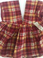 Vintage Ideal Doll Pinafore Apron Plaid Flannel
