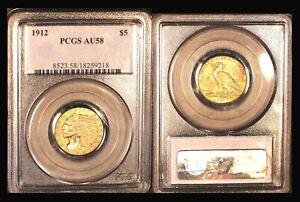 1912 $5 PCGS AU 58 - Half Eagle