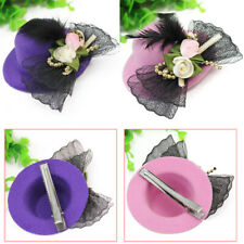 Pink Xmas Cocktail Party Wedding Feather Mini Top Hat Bow Fascinator Hair Clip