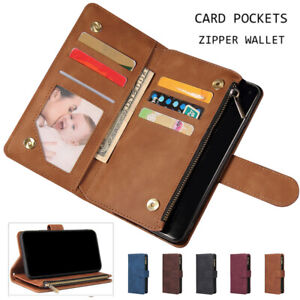 Retro Leather Zipper Card Wallet Case Cover For Sony Xperia 1 III/Xperia 10 III