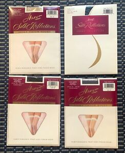 4 PR, Hanes Silk Reflections 720 Silky Sheer Thigh Highs VARIETY COLORs~EF~LARGE