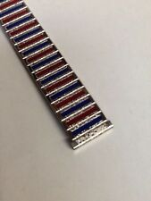 WATCHBAND UNIFLEX USA RED BLUE STAINLESS STRETCH 18mm