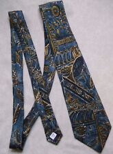 BHS SILK NECKTIE CLASSIC MENS TIE BLUE DARK GOLD PATTERNED