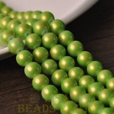 New 15pcs 10mm Round Gold Dust Glass Charms Loose Spacer Beads Light Green