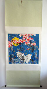 """original chinese hanging handpainted scroll painting""""birds, flowers"""" @A035"""