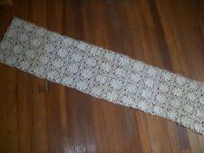 "Antique Hand Crochet Table Runner 12"" x 60"""