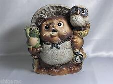 "Shigaraki Stoneware Figurine ""Tanuki with owl and frog"" Japanese H26cm"