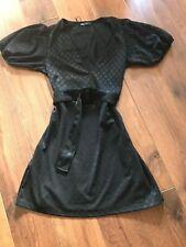 BNWT ZARA BLACK POLKA DOT TEXTURED DRESS WITH BELT SIZE L