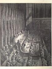 Abadía de Westminster, el coro por Gustave Dore, 1872 Original Antigua de impresión de Londres