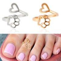Fashion Women Toe Ring Loving Heart Paw Beach Lady Foot Jewelry Love Adjustable