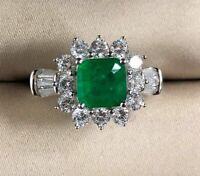 Vintage Damen Ring Echt Silber 925 8*8 mm Smaragd Edelstein Damenringe Geschenk.