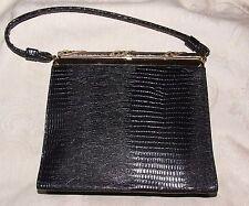 Vintage 1960s After Five 5 Made in Usa Black Leather Handbag Purse Dressy Bag
