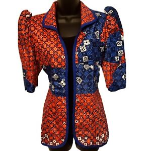 African Women Red and Blue Jacket/ Blazer