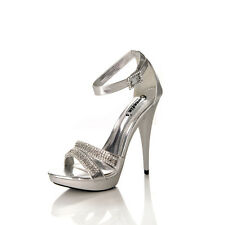 Sweeties Alice Silver Rhinestoned Pageant Prom Gala Shoes sz 8.5 NIB