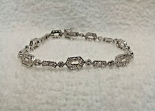 Vintage Sterling Silver Tennis Bracelet with Cubic Zirconia Stones