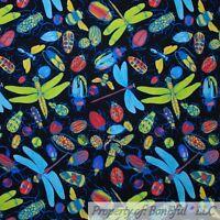 BonEful FABRIC FQ Cotton Quilt Black Dragonfly Beetle Bug Rainbow Red Green Blue