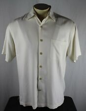 Nat Nast 100% Silk Button Short Sleeve Solid White Camp Shirt Mens Medium