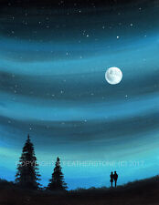 Sarah featherstone, art original signé aquarelle, le ciel nocturne, lune