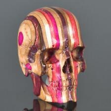 Skateboard Laminated Wood Human Skull Carving Art Sculpture Paperweight 16.63 g
