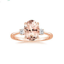 Morganite Gemstone Natural 2.87ct Diamond Engagement Rings 14k Rose Gold IJ/SI1