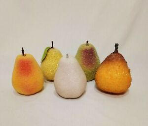 """Lot 5 Pears Beaded Sugared Table Artificial Faux Fruit 4"""" Yellow Green White"""