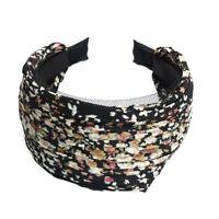 Lady Wide Pleated Headband Alice Printed Wedding Party Black H8X8