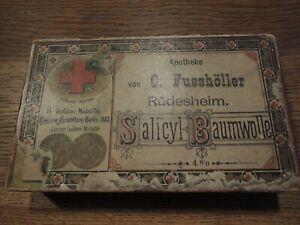 Schöne alte Arzneischachtel Apotheke Fusshöller aus Rüdesheim am Rhein von 1883