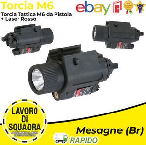 Torcia M6 350 lumen con Laser Rosso Tattica Softair Plastica Outdoor Airsoft