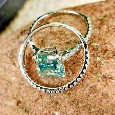 Engagement Wedding Ring Set 2.78 Ct Blue Emerald Moissanite 925 Sterling Silver