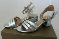 BRUNO PREMI Damen Sandalette Leder silber Blockabsatz Schuhe Gr 39 NEU Q9