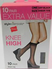 Lot of 2 Hanes Off Black Sheer Toe Knee High Sheer Leg, 20 Pairs Total!