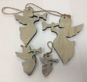 4x Angel & trumpet Hanging Wooden decoration tiered size shabby chic wood rustic