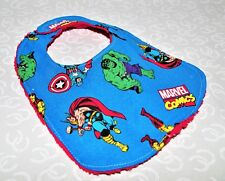 Handmade Blue Marvels Character Baby Bib 100% cotton Terry Cloth Backing