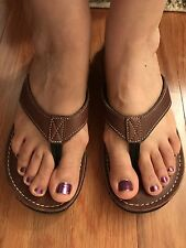 Clarks Women Flip Flop Sandals Thong Brown Leather Flat Size 10
