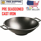 """Lodge Pre-Seasoned 14"""" inch Cast Iron Wok with Flat Base and Loop Handles Cook"""
