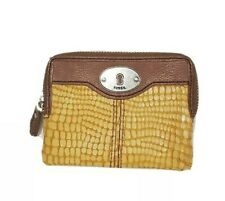 Fossil Card Coin Pouch Clutch Wallet Leather Mustard Brown Small