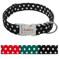 Cotton Custom Engraved Dog Collar Side Release Buckle Personalised Name ID Tag