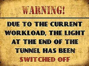 Warnung Licht Bei Ende Der Tunnel Geschaltet Aus Stahl Schild 200mm x 150mm (Og)