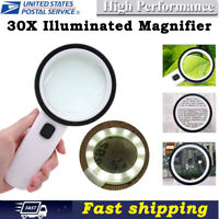 30X High Power Handheld Magnifying Glass Illuminated Magnifier With Led Light